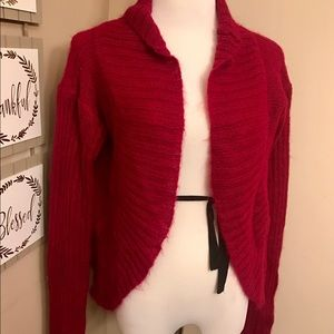 Free People Red Mohair Sweater Cardigan size L